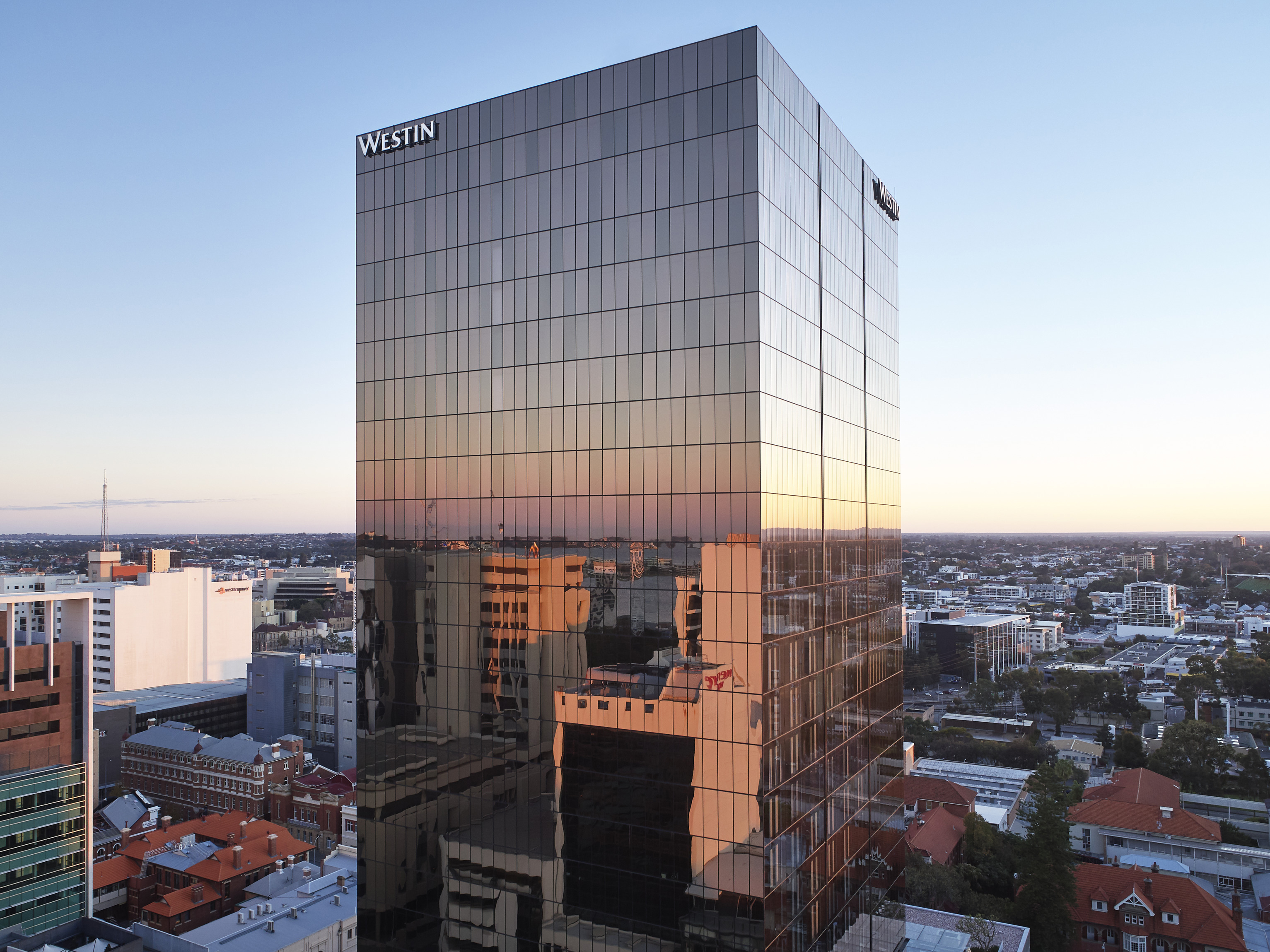 The new Hibernian Place incorporating the five-star Westin hotel along with a thoughtfully curated mix of hospitality operators is the latest 'urban oasis' for Perth residents. Image: Supplied