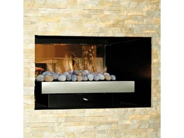 See through gas fireplaces with timber frames and glass side panels