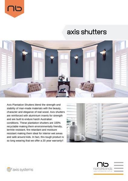 Axis Shutters Specification Sheet