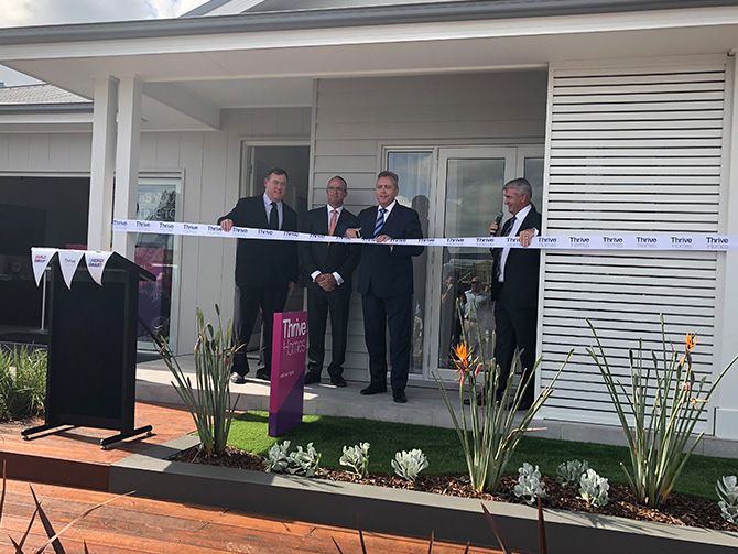 Planning and Housing Minister, Anthony Roberts, was in Marsden Park in Sydney's north-west recently to cut the ribbon on a new, innovative display home on Stockland's Elara housing estate. Image: Supplied