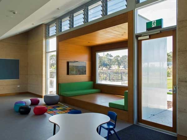 Altair louvre windows from Breezway were incorporated into the design of classrooms at the new Mother Teresa Catholic Primary School (Geoff Fisher – Fisher Photography)