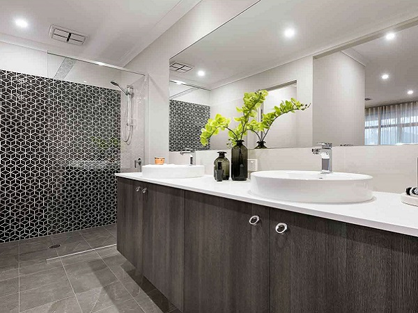 black and white mosaic wall feature bathroom
