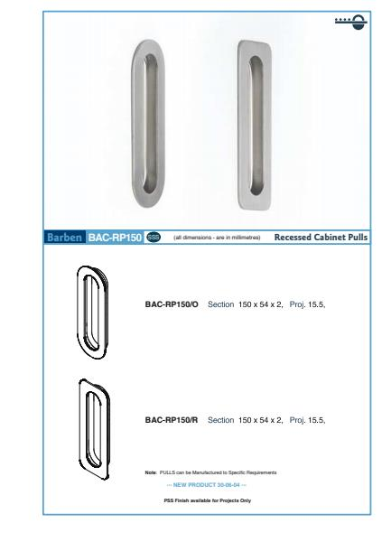 BAC-RP150 Cabinet Handle Specifications