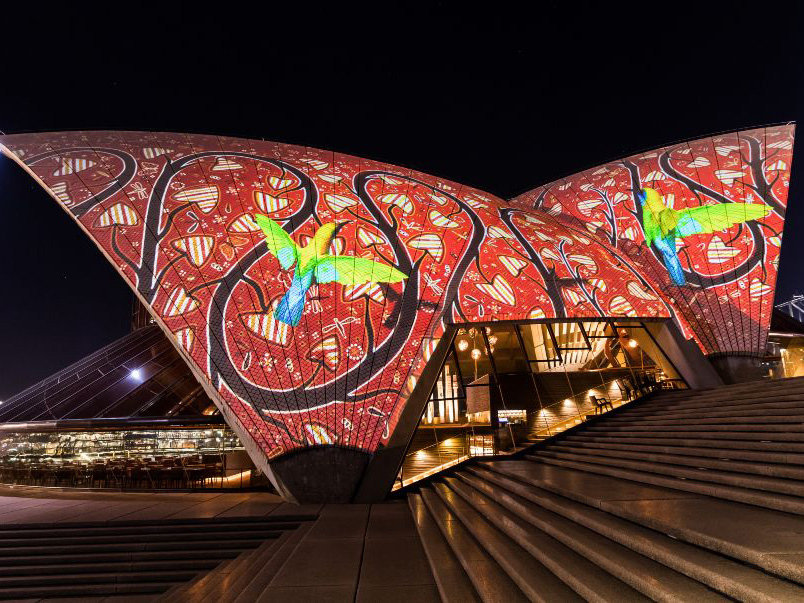 The Australian Institute of Architects has opposed the decision of the NSW Government to allow the Sydney Opera House sails to be lit up with commercial material.  Image: The Downer Group