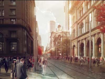 The City of Sydney's George Street Concept Design – George Street and Barrack Street. Artist Impression by Doug and Wolf (2013)