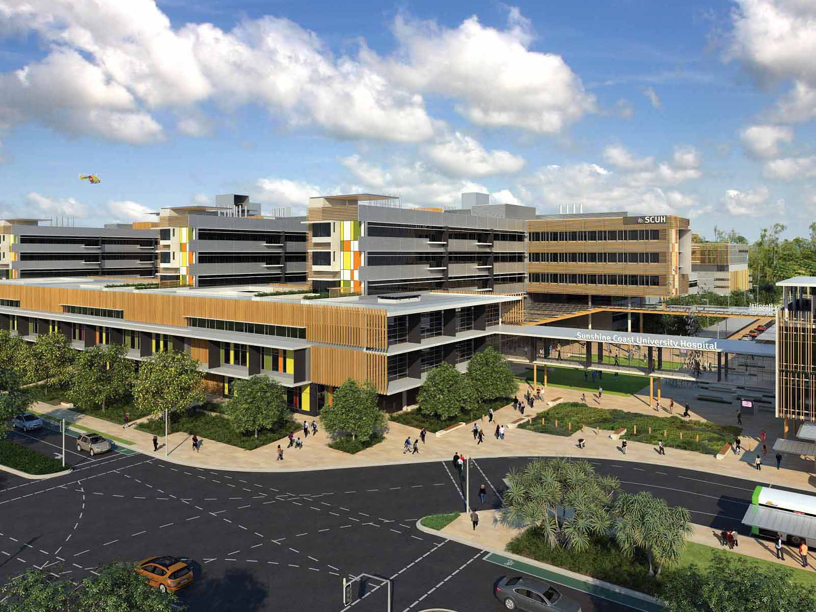 The Queensland Government's $1.8 billion Sunshine Coast University Hospital (SCUH) has become the largest public healthcare facility in Australia to achieve the building industry's highest honour with a 6 Star Green Star Healthcare v1 Design and As-Built rating. Image: Ochre Health