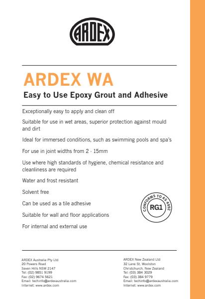 ARDEX WA Easy to Use Epoxy Grout and Adhesive