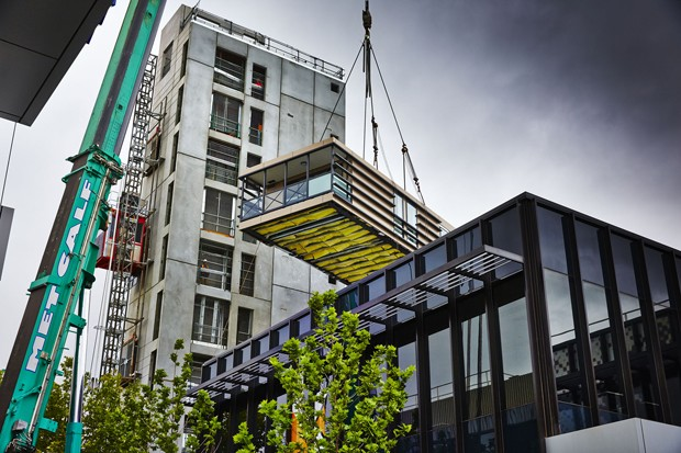 Nine storey melbourne apartment goes up in just five days for Prefab framing