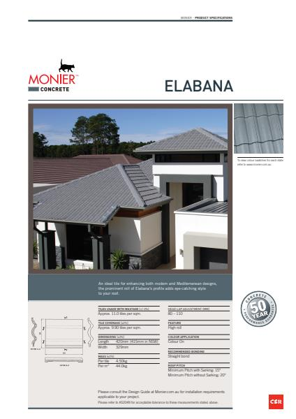 Monier Elabana Data Sheet