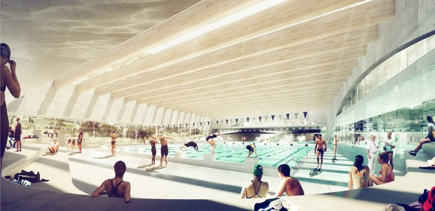 Andrew burges architects wins green square aquatic centre for Sport swimming pool design