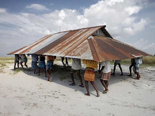 Mosque relocation after riverbank erosion, Bangladesh (Credit: Jonas Bendiksen, Photojournalist, Norway)