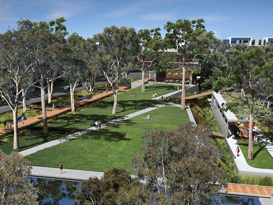Mature gum trees will be important for visual amenity among the higher-density residences being built to house a population growing at 5.1% a year for the next two decades. AAP/McGregor Coxall