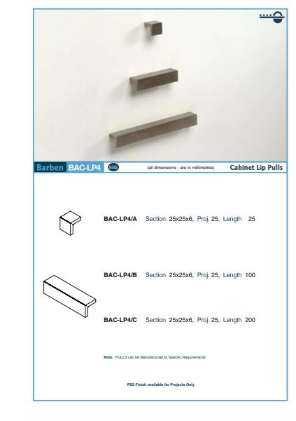 BAC-LP4 Cabinet Handle Specifications