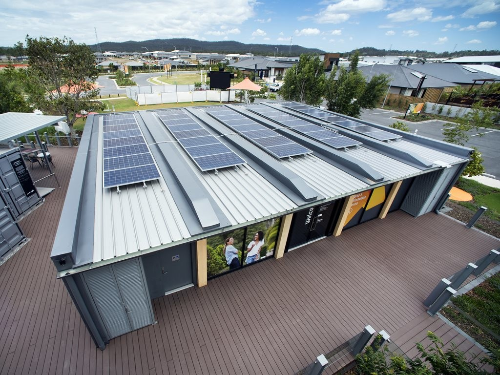 Solar panels on the sales and information centre in Yarrabilba. Image: Supplied