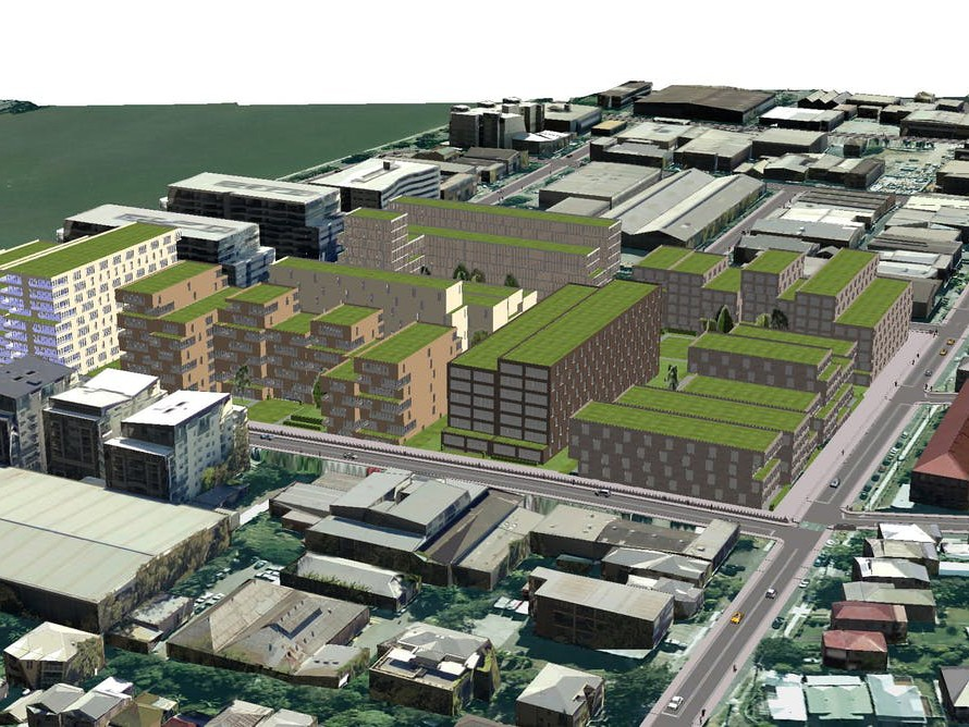 A 3D model of a development scenario in Brisbane's West End produced using ESRI's CityEngine program