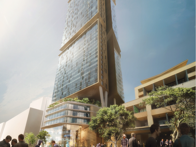 Parramatta's 87 Church Street has achieved a key development milestone with Nettleton Tribe + Fox Johnston winning the design competition which will see the construction of one of Parramatta's tallest residential towers.  Image: Artist's impression of  87 Church Street by Doug and Wolf.