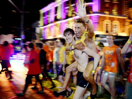 Revellers celebrate Sydney Mardi Gras. Oxford Street has been the centre of LGBTQI celebration and activism since the 1970s. Image: Tracey Nearmy/AAP