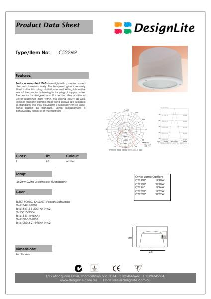 DesignLite Surface Mounted Downlight Product Information