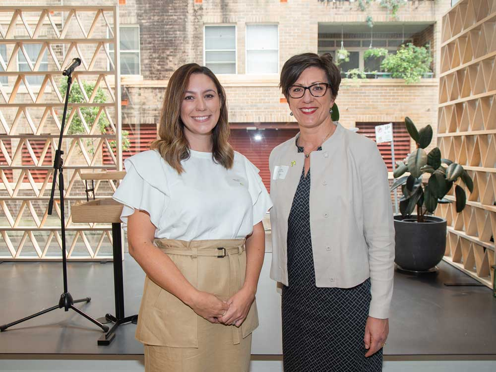 (L-R) Scholarship winner Sarah Lawlor with NAWIC National Chair Kristine Scheul