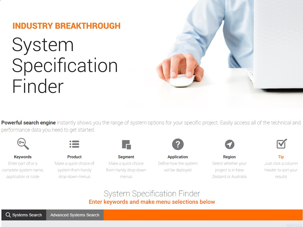 AFS System Specification Finder instantly shows you the system options for your project