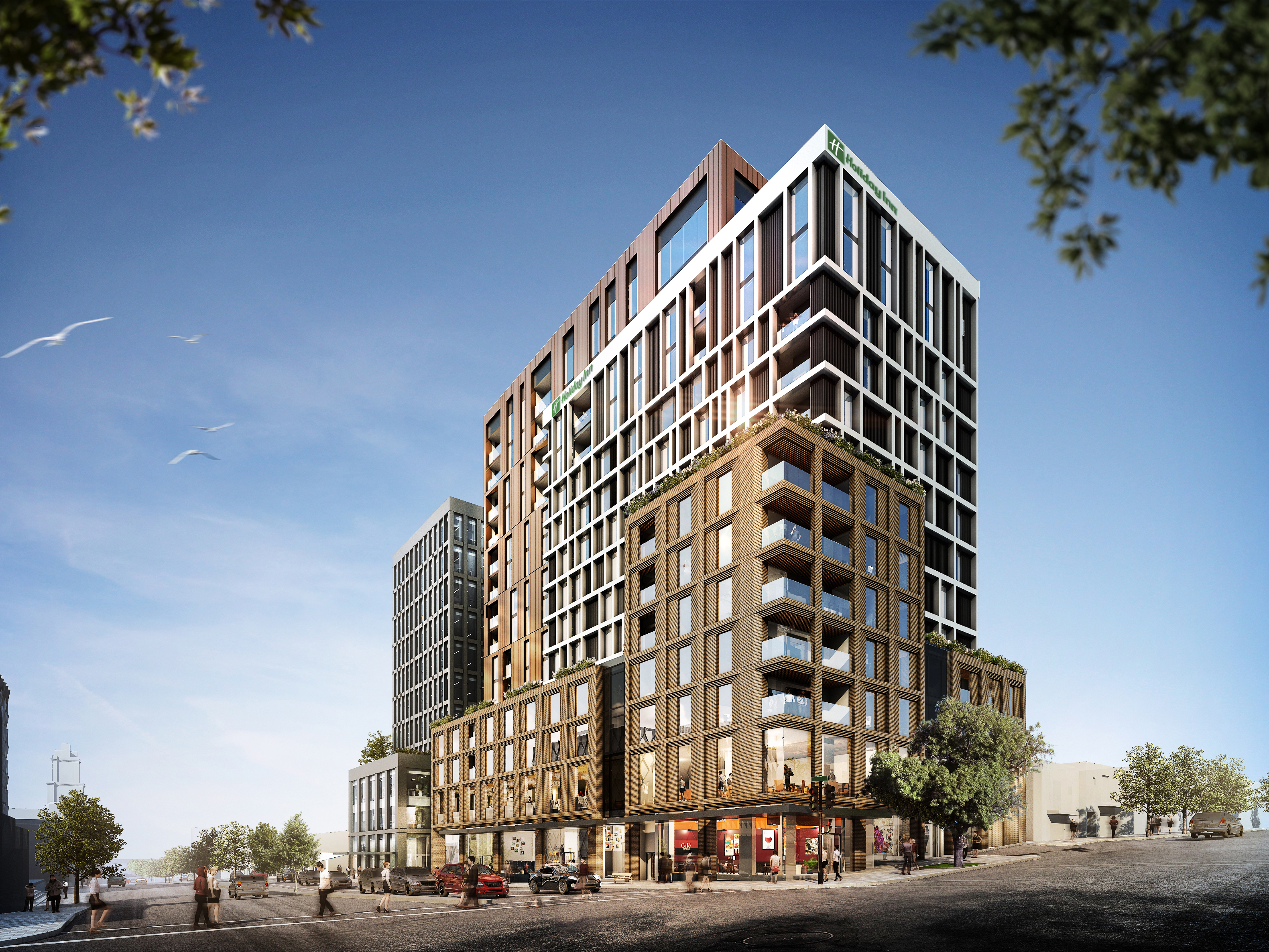 The $150 million Geelong development located at 44 Ryrie Street within the Geelong Activity Centre Zone will comprise 1,000sqm of ground floor retail, 7400sqm office space, 24 residential apartments and a 180 bed hotel, all connected by a highly activated street level plane with public access. Image: Supplied