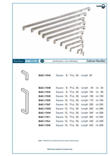 BAC-175 Cabinet Handle Specifications