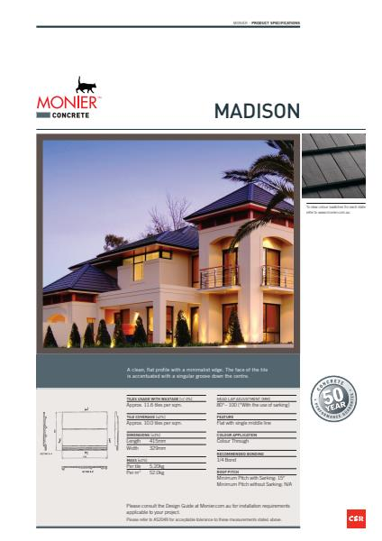 Monier Madison Data Sheet