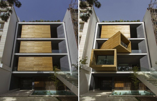 Sharifi house features space saving rotatable rooms architecture and design - Semi basement house plans multifunctional spaces ...