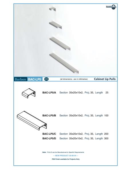 BAC-LP5 Cabinet Handle Specifications