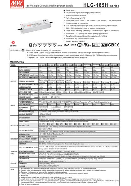 HLG-185HSpecification Sheet