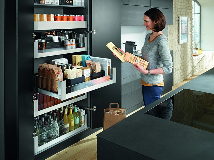 Blum cabinet solutions in modern kitchen