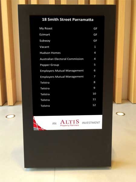 freestanding digital directory board installed in parramatta commercial building lobby