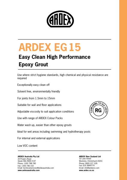 ARDEX EG 15 Easy Clean High Performance Epoxy Grout