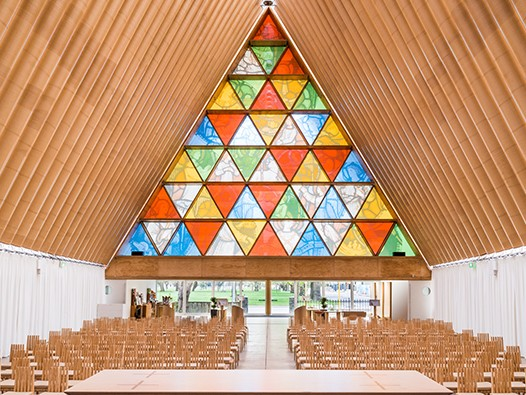 The Christchurch Cardboard Cathedral was designed pro bono by Shigeru Ban after the devastating 2011 New Zealand earthquakes. Image: Bridgit Anderson