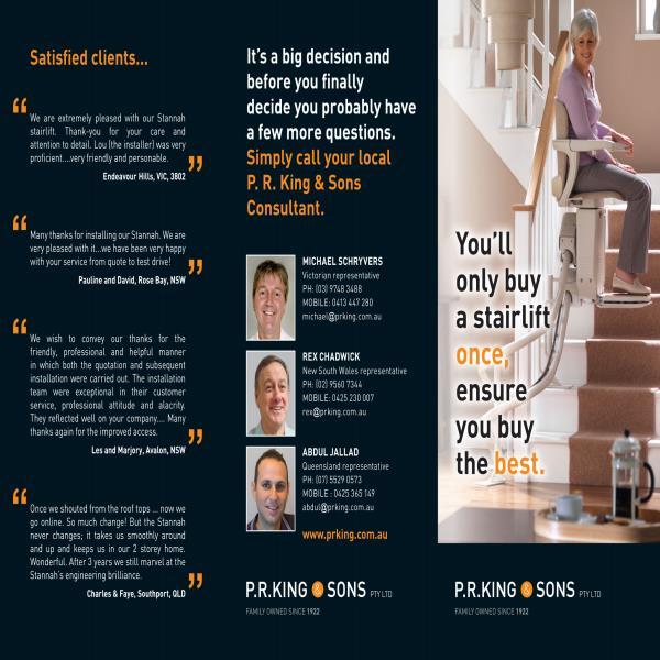 Stannah Electric Stairlift Brochure
