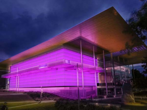 Artist's impression of the Gallery of Modern Art building illuminated by Turrell's imminent light installation Image: QAGOMA