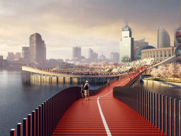 The proposed design for Shanghai's Huangpu River waterfront (Image: Hassell, MIR, TTT Architects)