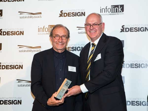 Ken Maher (left) from Hassell being awarded the Lifetime Achievement Award by Scott Evans of ZEGO