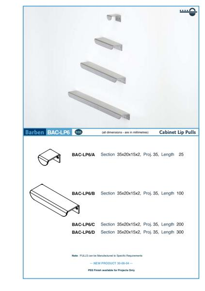 BAC-LP6 Cabinet Handle Specifications