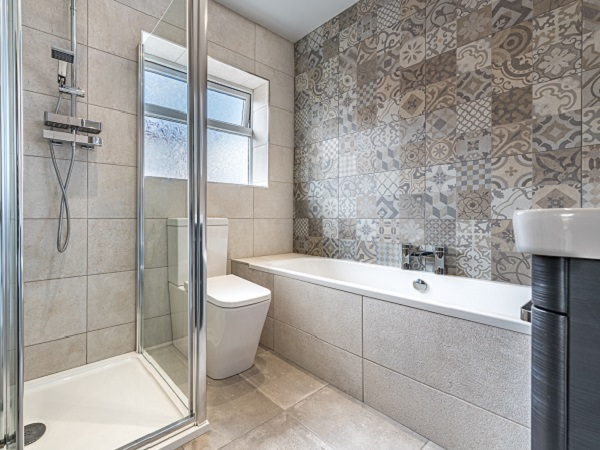 multi tiled bathroom feature wall