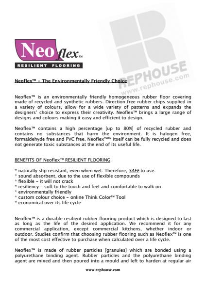 Neoflex™  Environmentally Friendly Rubber Flooring