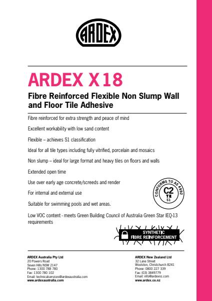 ARDEX X 18   - Fibre Reinforced Flexible Non Slump Wall and Floor Tile Adhesive