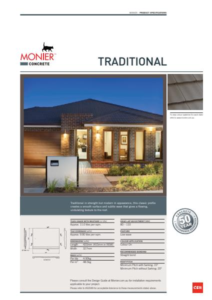 Monier Traditional Data Sheet