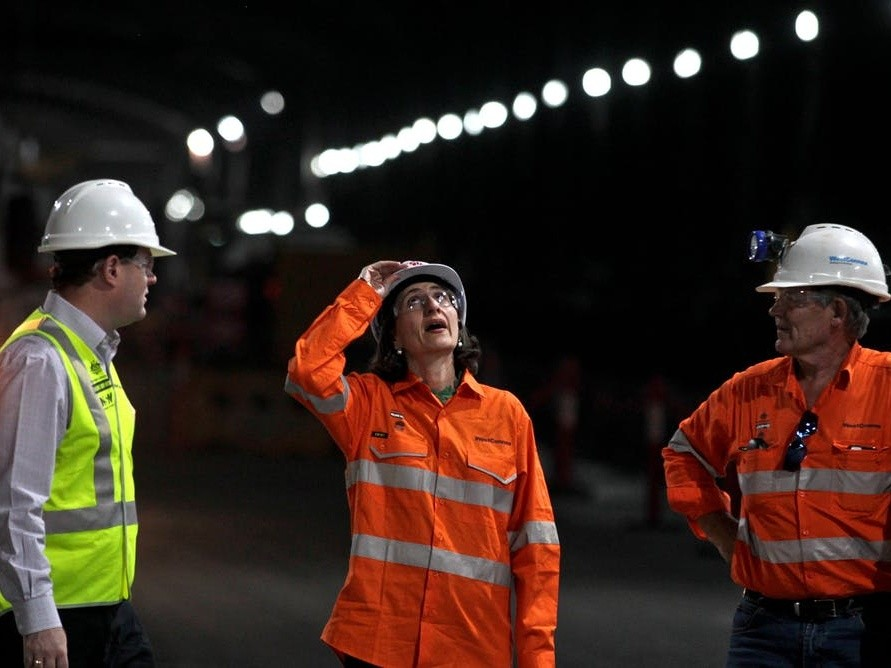 NSW Premier Gladys Berejiklian touring the WestConnex tunnel in Sydney.  Image: AAP/The Conversation