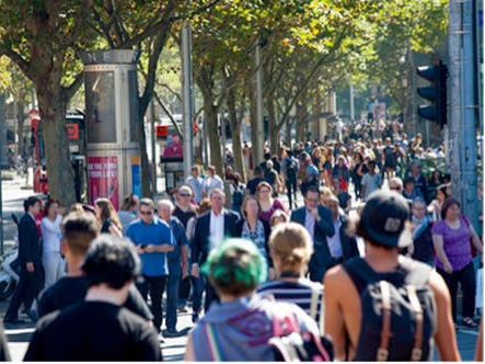 Marvellous Melbourne, a city full of life, has been revived over several decades. This is Swanston Street in 2017. Image: Andrew Curtis/City of Melbourne