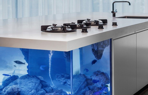 Fish tank kitchen island ocean kitchen aquarium island hiconsumption 2017 fish tank - Isolated contemporary design cabin straddles rocks on norwegian island ...