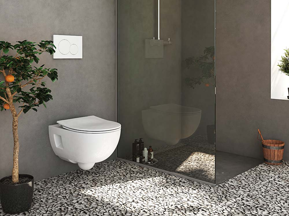 Modern bathroom interior with sustainable toilet