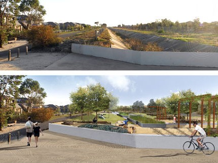 Exisiting site (above), artists impression for linear parkland (below)