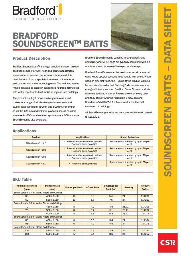Sound Insulation New Generation Soundscreen From Bradford