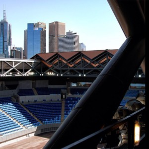 Melbourne's Margaret Court Arena operable roof closes in five minutes and looks like copper penny